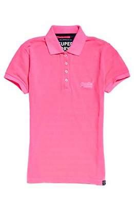 Superdry Women's Cotton Polo TOP Vest (Fluro Pink 28R), XS (Size:8)