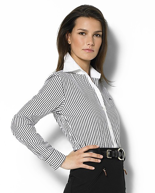 Lauren Ralph Lauren Women's Eric Brookhill Stripe Cotton Broadcloth Shirt with White Collar and Cuffs