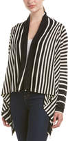 NYDJ Striped Linen-Blend Cascade Cardigan