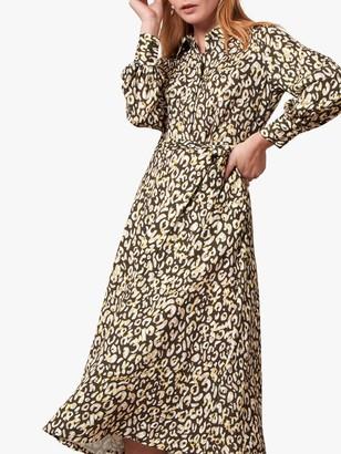 Jaeger Volume Leopard Print Shirt Dress, Yellow/Multi