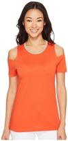 MICHAEL Michael Kors Lurex Neck Cold Shoulder Top Women's Clothing