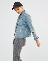 Daisy Street Distressed Denim Jacket