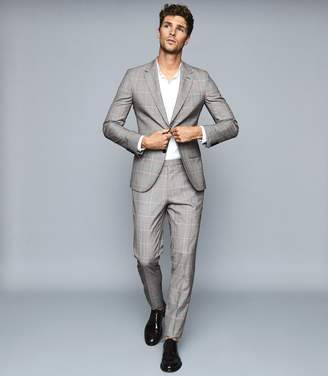 Reiss Grand - Wool Checked Two Piece Suit in Grey/fluro