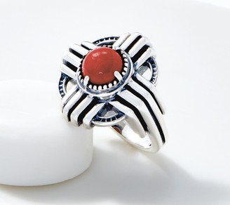 American West Sterling Silver Red Coral Zia Design Ring
