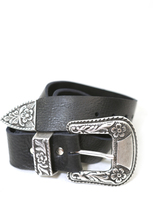 Brave Leather Ltd. Isabeli Leather Belt in Raw Washed Black