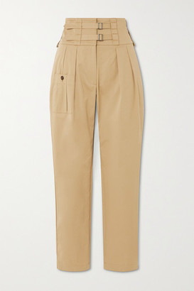 Dolce & Gabbana Buckled Cotton-blend Twill Tapered Pants - Beige