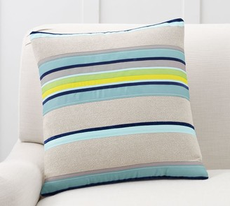Pottery Barn Striped Velvet Ribbon Pillow Cover