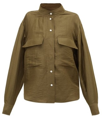 Frame Stand-collar Linen-blend Shirt - Womens - Khaki