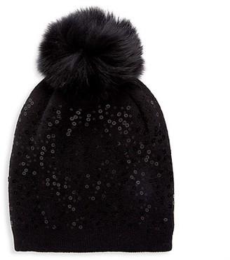 Adrienne Landau Fox Fur-Trim Sequin Knit Beanie