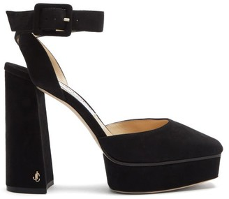 Jimmy Choo Jinn 125 Square-toe Suede Platform Sandals - Black