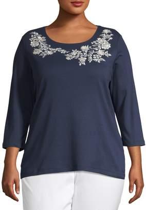 Karen Scott Plus Embroidered Floral Baroque T-Shirt