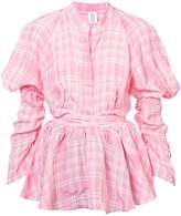 Rosie Assoulin Crinkled Plaid Puff Sleeve Blouse