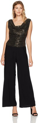 R & M Richards R&M Richards Women's Print Foil Metalic Jumpsuit Missy