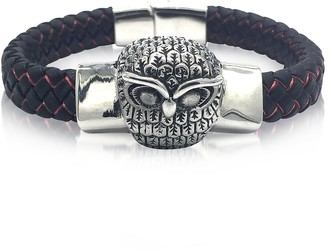 Blackbourne Owl Engraved Stainless Steel and Braided Leather Men's Bracelet