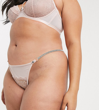 ASOS DESIGN Curve Sophia tanga thong with lace & diamonte strap