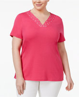 Karen Scott Plus Size Studded V-Neck Top, Created for Macy's