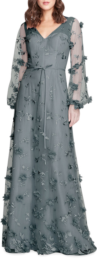 Thumbnail for your product : Marchesa Notte Bridesmaid Floral 3D Long-Sleeve Gown