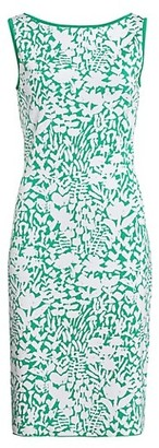 St. John Floral Jacquard Knit Sheath Dress