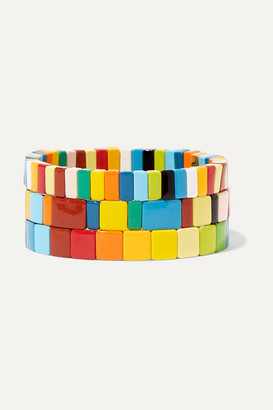 Roxanne Assoulin - Rainbow Brite Set Of Three Enamel Bracelets - Blue