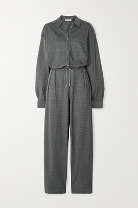 Ninety Percent + Net Sustain Striped Organic Cotton-blend Jacquard Jumpsuit - Gray