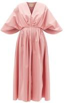 Roksanda Amina Cape-sleeve Cotton-poplin Midi Dress - Womens - Pink