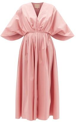 Roksanda Amina Cape-sleeve Cotton-poplin Midi Dress - Pink