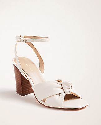 Ann Taylor Carolyn Knot Leather Block Heel Sandals