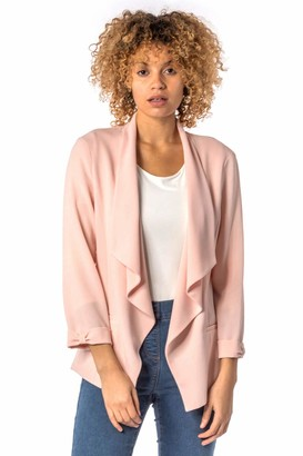 Roman Originals Women Textured 3/4 Sleeve Jacket - Ladies Formal Special Occasion Event Everyday Party Casual Versatile Spring Summer Lightweight Cover Up Blazer Jacket - Royal Blue - Size 12