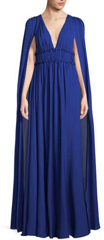 Marchesa Silk Georgette V-Neck Cape Gown
