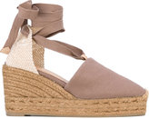 Castaner lace-up wedge espadrilles - women - Cotton/Raffia/Leather/rubber - 36