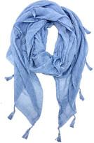 Jc Sunny JC Sunny Women's Accent Scarves - Blue Stonewash Tassel-Trim Lightweight Scarf - Women