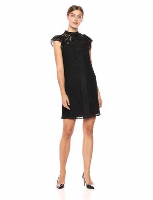Nanette Lepore Nanette Women's Cap SLV Lace Shirt Dress W/Bow Nk