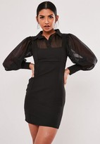 Missguided Organza Sleeve 2 In 1 Mini Dress