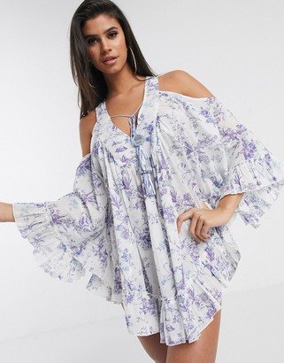 Asos DESIGN cold shoulder lilac print beach dress with mirror detail