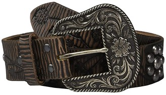 Ariat Floral Embossing Nailheads Belt (Brown) Women's Belts