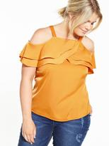Lovedrobe Cold Shoulder Ruffle Detail Top