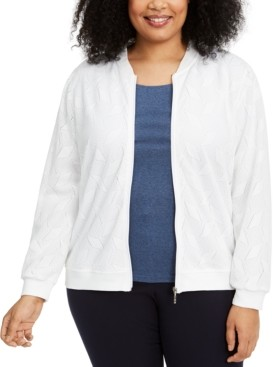 Alfred Dunner Plus Size Ship Shape Knit Bomber Jacket