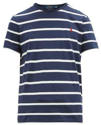 Polo Ralph Lauren Logo Embroidered Striped Cotton Jersey T Shirt - Mens - Navy White
