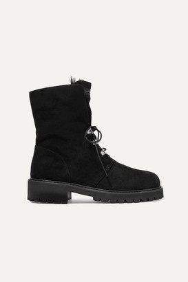 Giuseppe Zanotti Shearling-lined Suede Ankle Boots - Black
