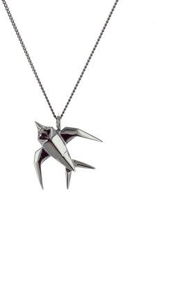 Origami Jewellery Mini Swallow Necklace Gun Metal