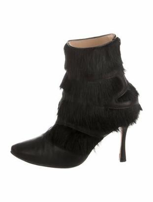 Manolo Blahnik Fox High-Heel Booties Black