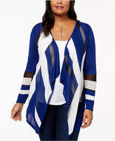 INC International Concepts I.N.C. Plus Size Colorblocked Cascade Cardigan, Created for Macy's