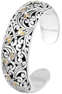 Devata Sweet Dragonfly Classic Sterling Silver Cuff embellished by 18K Gold Accents on 4 strips of Dragonfly's Wings