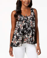 Style&Co. Style & Co Printed Button-Front High-Low Top, Created for Macy's