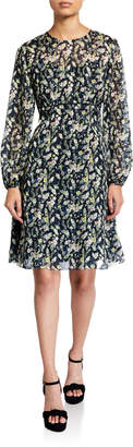 Mikael Aghal Long-Sleeve Printed Dress