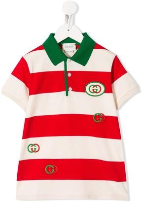 Gucci Kids Interlocking G striped polo shirt