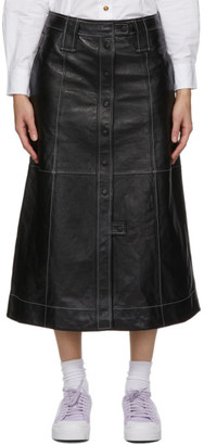Ganni Black Lamb Leather Skirt