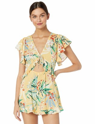 Finders Keepers findersKEEPERS Women's Paradise Cut-Out Ruffle Romper Playsuit