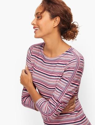 Talbots Textured Stripe Pullover - Pink Lotus