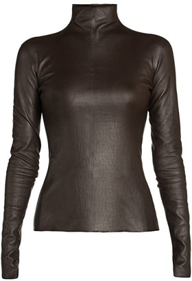 Bottega Veneta Leather Mockneck Top